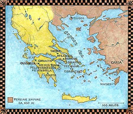 Ancient Greece Map Persian Empire.Natural History Magazine
