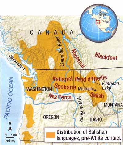 Salishan languages, twenty-three in all, were widely spoken in the Pacific Northwest before Whites arrived in force in the 1800s. The Salish and Pend d'Oreille tribes were allies of the neighboring Nez Perce and Kootenai tribes, and enemies of the Blackfeet.