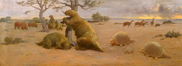 Megatherium, glyptodont, and camels